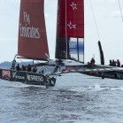 Emirates Team New Zealand's second AC72, NZL5 goes for it's first shake down sail. 12/2/2013 Chris Cameron