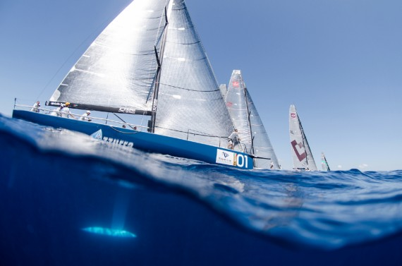 Azzurra in action during day five Royal Cup at Marina Ibiza on July 06th 2013 in Ibiza, Spain. Photo by Xaume Olleros / 52 Super Series