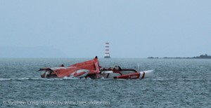Team Vodafone Sailing shortly after the incident. Photo: Stephen Craig