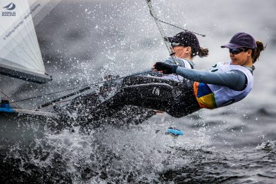Jo Aleh & Polly Powrie. Photo by Sailing Energy / World Sailing