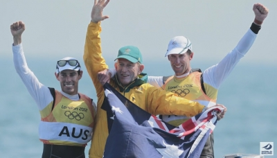 Mat Belcher, Victor Kovalenko  & Mal Page after winning GOLD in London 2012. Photo World Sailing