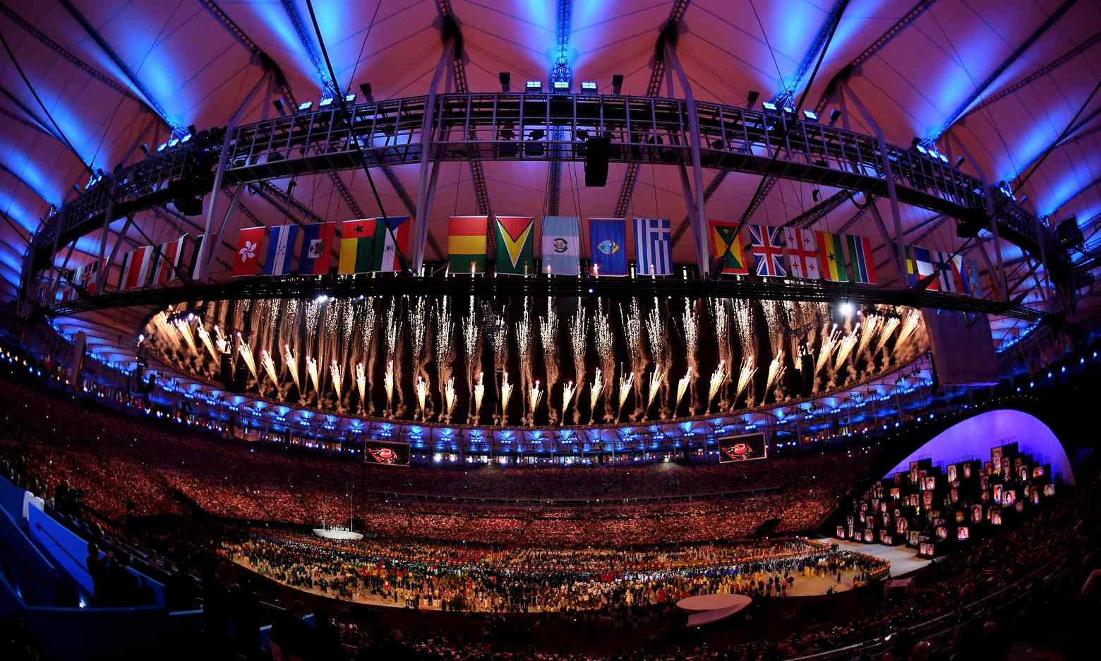 Fireworks explode at the end of the opening ceremony. Photograph: Ross Kinnaird/Getty Images